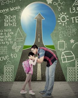Young father kiss his daughter before going to school in front of a key hole with scribble and upward arrow